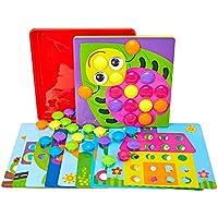 QXMEI おもちゃ 子供 パズル 大きな木目 マッシュルーム ネイル 男の子 女の子 おもちゃ 早期教育 知育玩具 1~3歳のおもちゃ パズル 02170