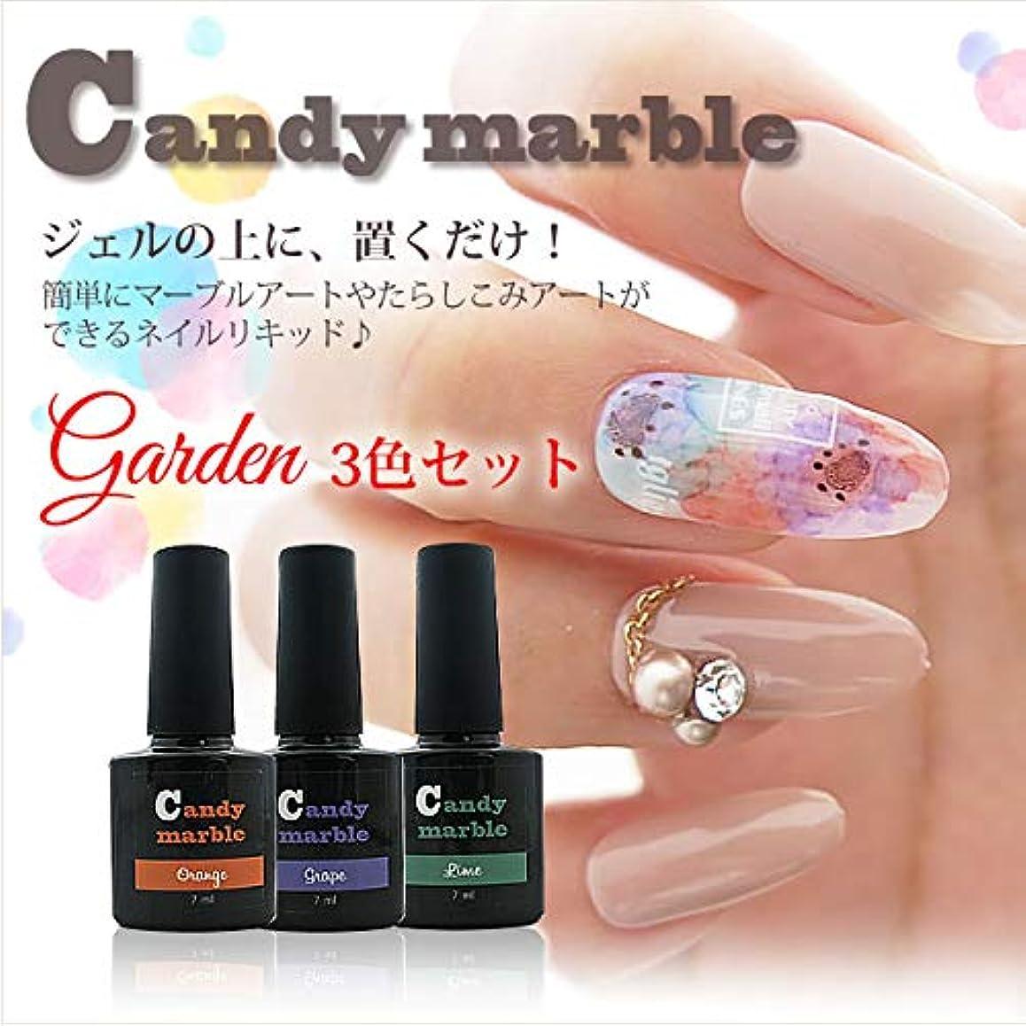 ネイルリキッド キャンディ マーブル ガーデンセット オレンジ、紫、緑