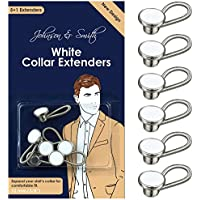 White Metal Collar Extenders by Johnson & Smith ? Stretch Neck Extender for 1/2 Size Expansion of Men Dress Shirts 5 +1 Pack 3/8