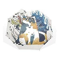 AyuStyle 折りたたみ傘 日傘 手動開閉 かわいい 萌え 面白い ネコ 猫柄 キャット 晴雨兼用 紫外線防止 完全遮光 耐風撥水 傘袋付き 8本骨 108センチ レディース 女性用 ユニーク エ おしゃれ 三つ折り畳み傘