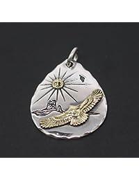 「silverKYASYA」シルバー925素材 イーグル ペンダント 925 ネイティブ 叩き タタキ フェザーネックレストップ