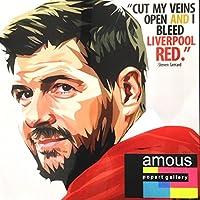 「リバプールレッドの血」 スティーブン・ジェラード リバプールFC 海外サッカーグラフィックアートパネル 木製ポスター インテリア