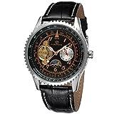 GuTe出品 腕時計 メンズ 自動巻き トゥールビョン 革バンド ムーンフェイス アンティーク ワイルド 機械式 ブラック シルバー