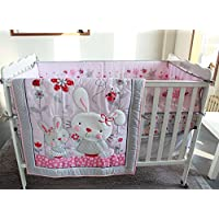 WinlifeピンクRabbit Crib Bedding Set for Girls withバンパー
