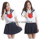 CosplayDepart セーラー服 半袖 女子高生 S~XXXL 清純 セクシー 本格制服 (白色 レッドリボン,XL)