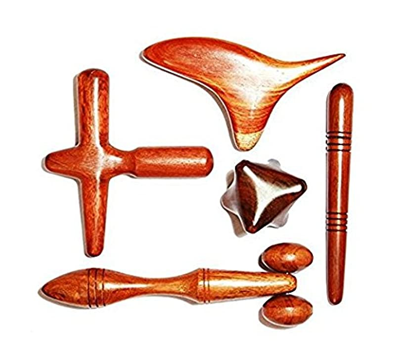 三角無意識イタリックMARUKOA - 5 Pcs. セットのリフレクソロジータイマッサージ木製スティック 手と足のマッサージツール マッサージャー ローズウッド