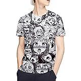 アヘ顔 服 Tシャツ メンズ 半袖 AHEGAO Tシャツ パロディアニメ モノトーン グラフィック Tシャツ カジュアル 大きいサイズ男女兼用