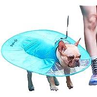 Diki Home 犬用レインコート ペット用品 小動物 猫 レインポンチョ 小型犬 中型犬 雨具 帽子付き UFOマント ポンチョ 傘 雨の日のお散歩に カッパ 梅雨対策 (L, ブルー)