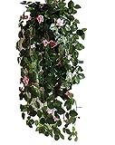 【SCGEHA】フェイクグリーン インテリア イミテーション 人工 観葉植物 壁掛け 癒し 造花 4カラー (ピンク/1本)