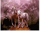 2馬Lover Under the Sakura DIY oilペイントホーム装飾、子供のペイントby Numberキットアートゲーム大人キッズ子供時代開発のためのデジタルキャンバス油彩画20x 16インチ
