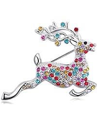 レディースエナメル鹿パールブローチピンジュエリー誕生日ギフト(カラフル)
