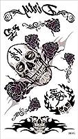 (ファンタジー) THE FANTASY タトゥーシール 髑髏 スカル 白黒 Skull-5【レギュラー】 (hm305)