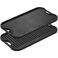 [Lodge] [LPGI3 鋳鉄両面グリル/鉄板 Reversible Grill/Griddle, 20-inch x 10.44-inch, Black] (並行輸入品)