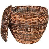 ランドリーバスケットラタン蓋汚れたハンパー綿の三層のライニングの収納バスケット、50 * 34 * 50センチメートル