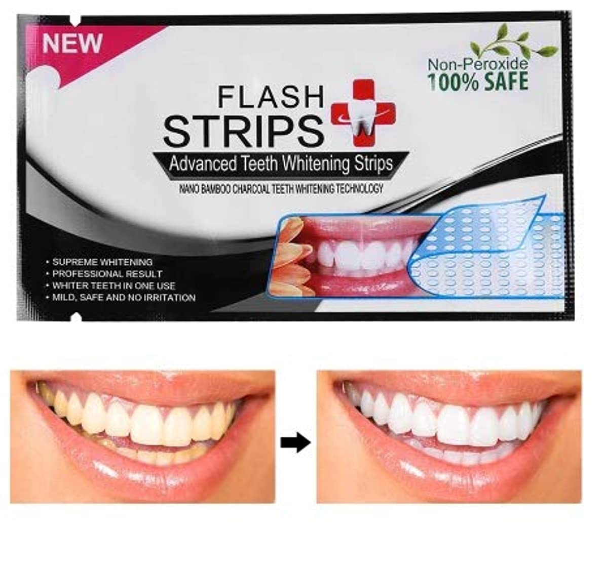 有名異形学者Izmirli- Flash 28Pcs/14pouches 3D White Gel Teeth Whitening Strips Tooth Dental kit Oral Hygiene Strip - 28Pcs...