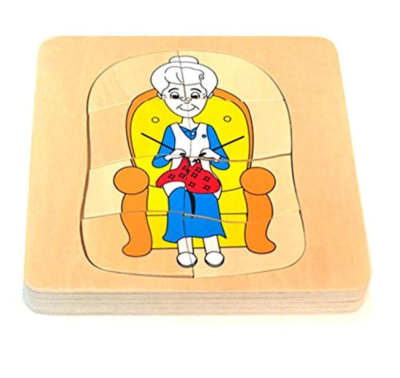 HuaQingPiJu-JP 教育木製のマルチレイヤーパズルアーリーラーニングの数字の形の色の動物のおもちゃ子供(女性)のための素晴らしいギフト