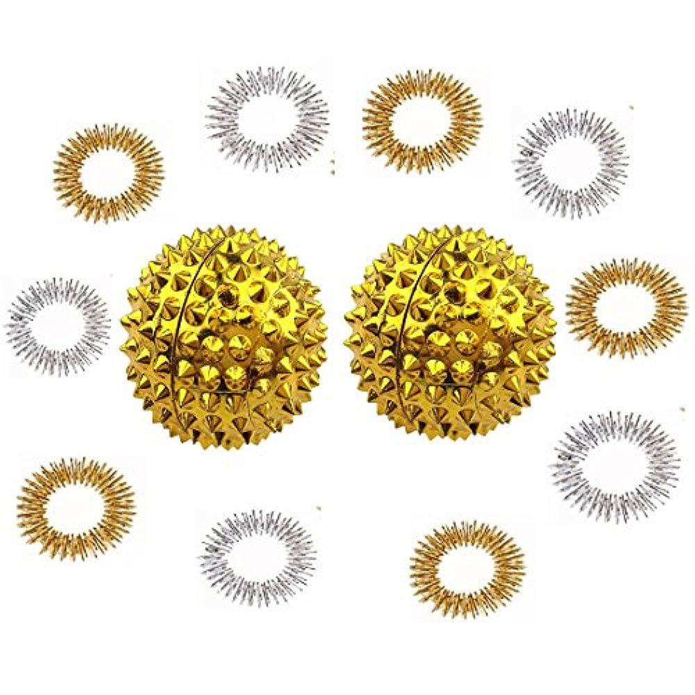 コンパニオン電気的ナイトスポット磁石のマッサージボール マッサージ指輪 リング 12点セット 金属製 手のひら 指 ツボ押し リフレクソロジー 血液循環促進 リリース 筋肉緊張和らげ お年寄り プレゼント