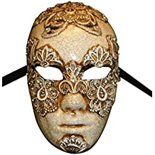 Luxury Venetian Full Face Eyes Wide Shut Mask Volto Mac II for Men with Macrame and Swarovski Crystals