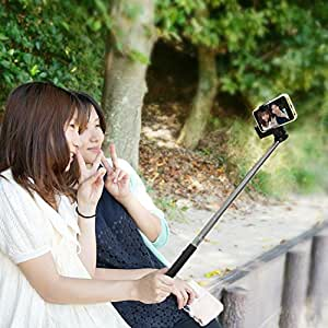 自分撮り 一脚 セルフィースティック FUN-TA-STICK ファンタスティック for iPhone android ワイヤレスシャッター機能付き一脚 ブラック SP1378