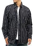 (ルイシャブロン) LOUIS CHAVLON 大きいサイズ メンズ シャツ ストライプ 長袖 セット Tシャツ Vネック 2color 5L ブラック
