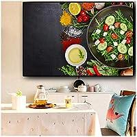 穀物スパイスパンキッチン野菜フルーツキャンバス絵画ポスターとプリントウォールアート絵リビングルーム(枠なし)60x100cm
