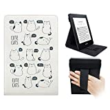 WALNEW Amazon Kindle Paperwhite 専用 直立タイプ 多角度調節が可能 ハンドストラップ 保護ケース(オートスリープ機能付き 2012/2013/2014/2015/2016/モデル適応) (太った猫)