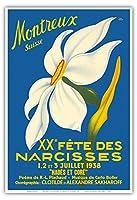 モントルー、スイス - 第20回水仙まつり - によって作成された ジオ・パユc.1938 - アートポスター - 33cm x 48cm