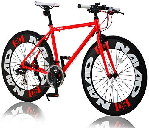 CANOVER(カノーバー)  クロスバイク 700C シマノ21段変速 CAC-023 (NAIAD) ディープリム アルミフレーム フロントLEDライト付 レッド