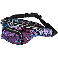 CHIC DIARY Sequin Fanny Pack PU Leather Waist Bag Glitter Paillette Bum Bag for Women