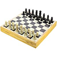 Set of 12 – ハンドメイドインディアンチェスセット – 再生Chess withソープストーンチェスピース&ストーンと木製チェスボード – Uniqueチェスセットとボードforギフト