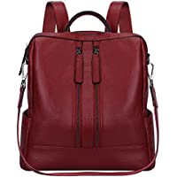 S-ZONE Lightweight Women Genuine Leather Backpack Casual Shoulder Bag Purse Medium