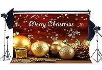 gladbuy 9x 6ftビニール写真バックドロップクリスマスボールShining Stars Golden Snowflakes interior decoration Xmas Backdrops for Baby Kids Adult Happy New Year背景写真スタジオ小道具xm365
