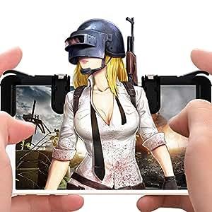 Lyoo [最新の改良強化版] PUBGモバイル/荒野のアクションゲームパッドゲームコントローラの撮影ボタンのタッチが高耐久ボタン感度高速撮影スマートフォンブラケットiPhone / Androidは2の左右のパッドセット(ブラック)に対応する良いですが ブラック