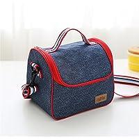 Qearay 耐久性とポータブルデニム ランチバッグ 保温 お弁当 保冷バッグ と 水のボトル バッグ-B