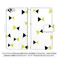 Xperia UL SOL22 手帳型 ケース [デザイン:5.白×黄×黒/マグネットハンドあり] 三角ツートーンリボン エクスペリア スマホ カバー