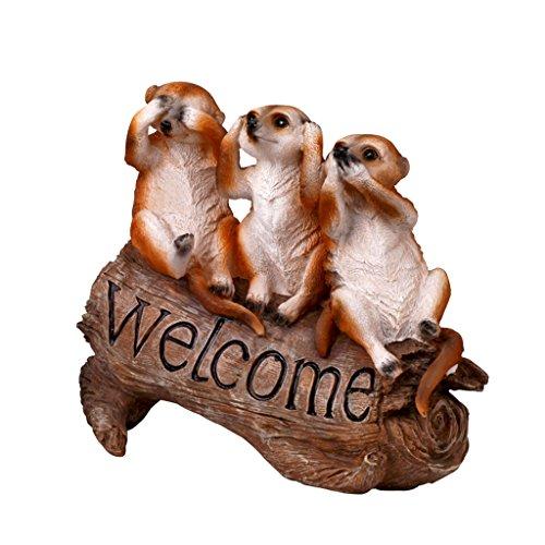 ガーデン・マングース・ウェルカム・カード;ガーデングリーンウェルカムブランド田舎の動物の装飾品ヴィラ装飾
