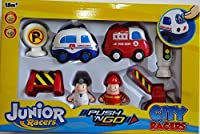 Junior Racers PUSH N'GO Powered City Racers Ambulance & Fire Engine Playset [並行輸入品]