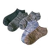 straight(ストレート)メンズ ショートソックス くるぶし 男性用 靴下 発汗 吸水 厚手 薄 素材 綿 コットン ユニクロ 5足 セット (ブラック 5組)