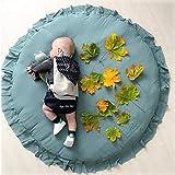 Happy snowflakes ベビーマット サニーマット フリル 無地 北欧 おしゃれ ラグ 丸型 円形 低反発 洗える オールシーズン リビング 床 赤ちゃん プレイマット (グリーン)