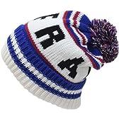 カラーカレッジロゴボンボン付きニット帽(ニット帽子 ワッチ) ブルー
