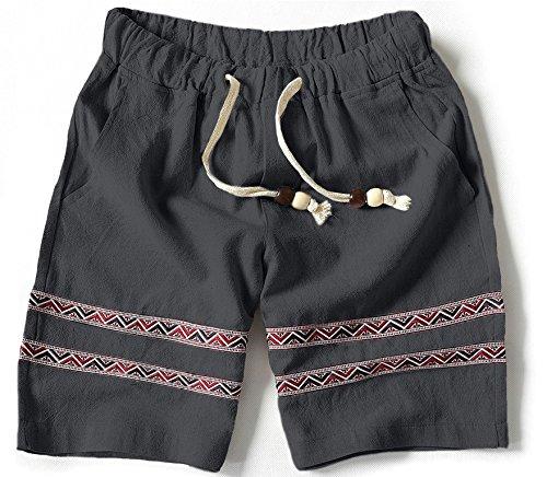 (マガザンレーブ) mgzan rev メンズ短パン ショート パンツ はーふぱんつ 半 ずぼん 大きい サイズ 夏 綿 麻 膝上 S ~ 3L 全5色 (14.グレー(L))