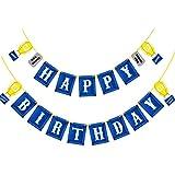 SECOWEL キッズパーティーバナー - ゲームパーティー用品 誕生日パーティーバナー ブルーパーソナライズされた誕生日フラッグバナー キッズビデオゲームテーマパーティー 誕生日パーティー用品 デコレーション