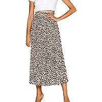 Qootent Women Elastic Waist Leopard Skirt Vintage A-line Loose Long Skirt Swing