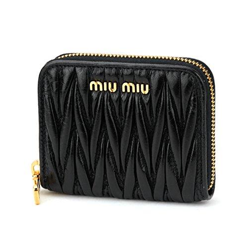 ミュウミュウ(MIU MIU) コインケース 5MM268 2E2W F0002 マテラッセ ルクス MATELASSE LUX レディース NERO(ネロ) ブラック 黒 ギャザー コンパクト スクエア[並行輸入品]