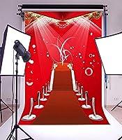 GooEoo 3×5フィートビニール写真の背景レッドカーペットステージシャイニースポットライトハロー結婚式場イベントパーティーアクティビティ子供愛好家大人背景スタジオ小道具