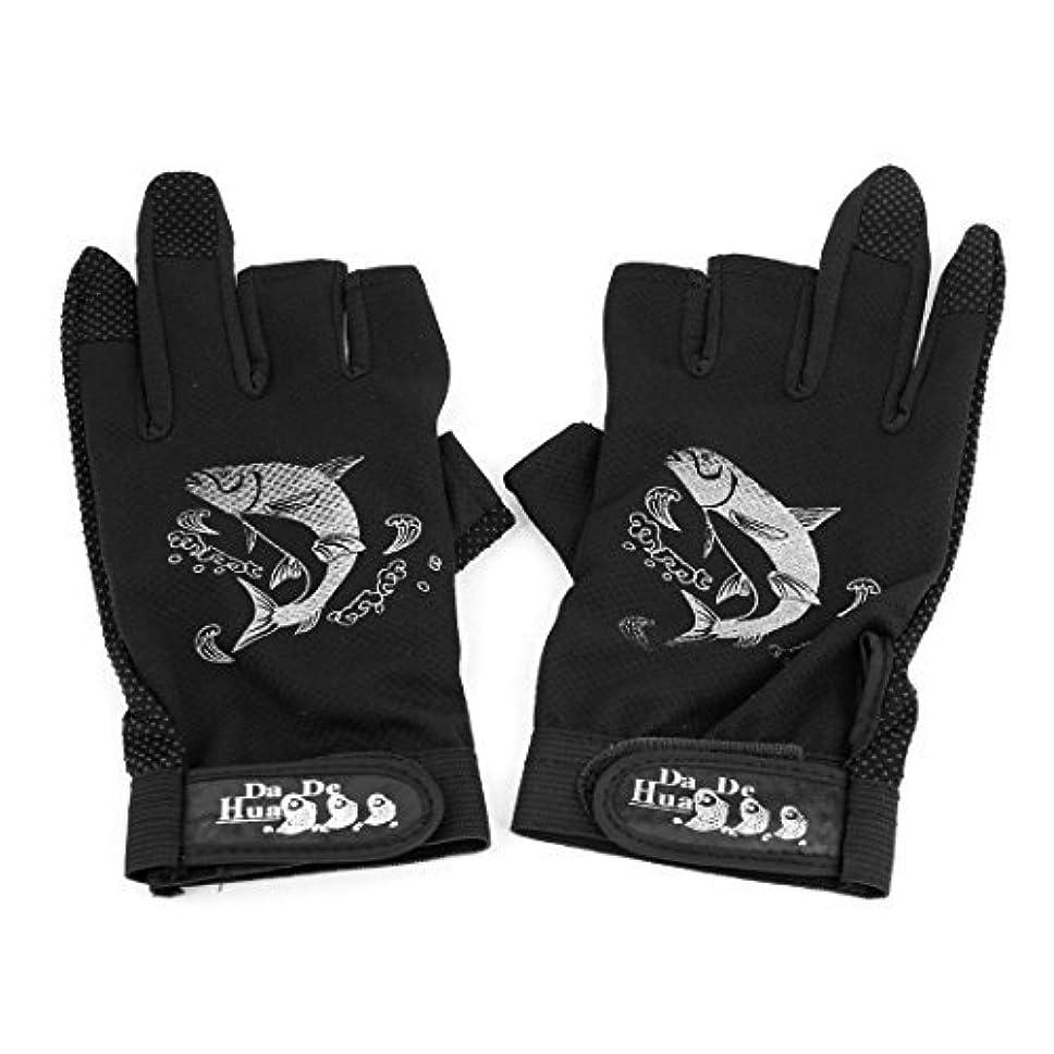 DealMuxペア黒ノンスリップデザインの釣りは、保護スポーツ魚手袋タックル