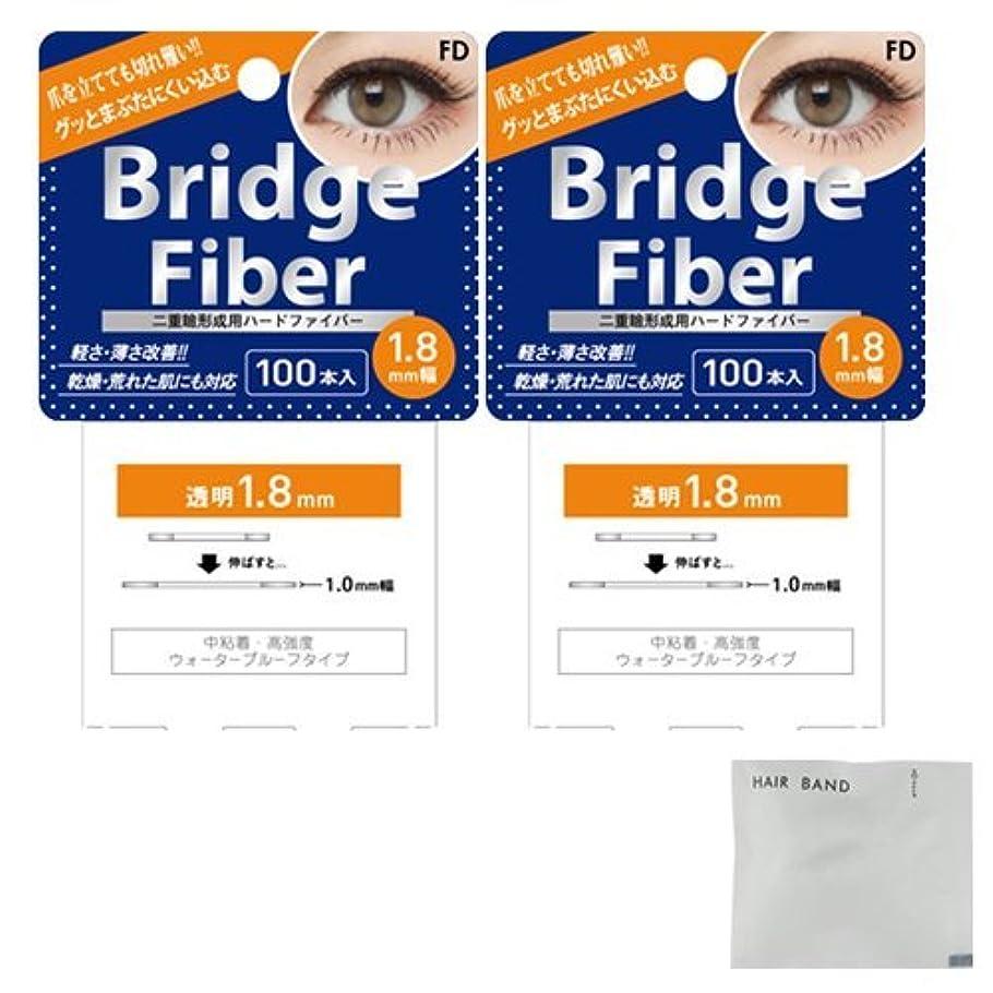 クリップ蝶細菌楽しませるFD ブリッジファイバーⅡ (Bridge Fiber) クリア1.8mm×2個 + ヘアゴム(カラーはおまかせ)セット