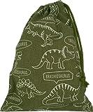 うわぐつ袋 カーキ×恐竜柄 男の子 巾着袋 中 ハンドメイド 日本製