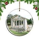 Weekinoアルバニアアポロニアフィアークリスマスデコレーションオーナメントクリスマスツリーペンダントデコレーションシティトラベルお土産コレクション磁器2.85インチ