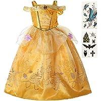 ba3995134bca1 Thrive on 美女と野獣 ベル コスプレ キッズ ドレス ハロウィン コスチューム 女の子 ボディシール2枚